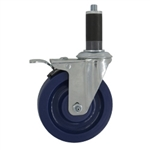 "5"" Expanding Stem Stainless Steel  Swivel Caster with Solid Polyurethane Tread and Total Lock brake"
