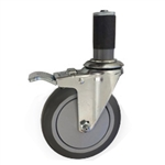 "5"" Stainless Steel  Expanding Stem Swivel Caster with Thermoplastic Rubber Wheel and Total Lock Brake"
