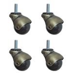 Spherical threaded stem ball casters
