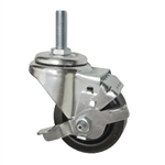 "3"" Threaded Metric Stem Swivel Caster with Phenolic Wheel and Brake"