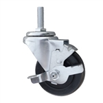 Metric Threaded Stem Swivel Caster with Brake and Rubber Wheel