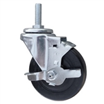 4 Inch Threaded Stem Metric Swivel Caster with Rubber Wheel and Brake