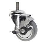 "4"" Threaded Stem Swivel Caster with Thermoplastic Rubber Tread and Brake"