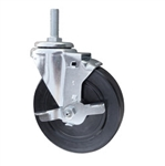 5 Inch Threaded Metric Stem Swivel Caster with Rubber Wheel and Brake