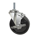 "5"" Metric Threaded Stem Swivel Caster with Phenolic Wheel and Brake"