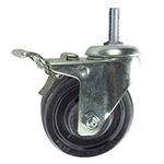 "3"" Total Lock Swivel Caster with 12mm threaded stem and hard rubber wheel"