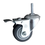 "3"" Metric Threaded Stem Swivel Caster with Thermoplastic Rubber Tread and Total Lock Brake"