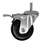 "3-1/2"" Metric Threaded Stem Swivel Caster with Phenolic Wheel and Total Lock Brake"