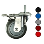 "4"" Metric Threaded Stem Swivel Caster with Polyurethane Tread and Total Lock Brake"