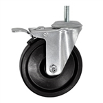 "5"" Threaded Stem Swivel Caster with Phenolic Wheel and Total Lock Brake"