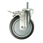 "5"" Metric Threaded Swivel Caster with Thermoplastic Rubber Tread and Total Lock Brake"