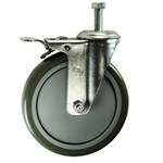 "6"" Swivel Caster with Polyurethane Tread and Total Lock Brake"