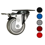 "3-1/2"" Swivel Caster with Polyurethane Tread and Total Lock Brake"