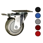 "4"" Swivel Caster with Polyurethane Tread and Total Lock Brake"