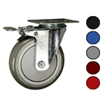 "5"" Swivel Caster with Polyurethane Tread and Total Lock Brake"
