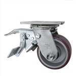 4 Inch Caster with Poly Tread  Aluminum Core and Total Lock