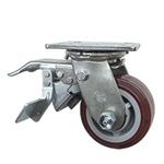 4 Inch Total Lock Swivel Caster with Polyurethane Tread on Poly Core Wheel and Ball Bearings