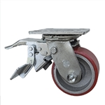4 Inch Swivel Caster with Polyurethane Tread Wheel with Total Lock and Ball Bearings