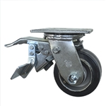 4 Inch Total Lock Swivel Caster with Rubber Tread on Aluminum Core Wheel and Ball Bearings