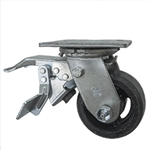 4 Inch Total Lock Swivel Caster with Rubber Tread Wheel and Ball Bearings