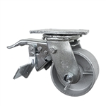 4 Inch Total Lock Swivel Caster with Semi Steel Wheel and Ball Bearings