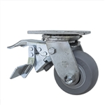 "4"" Swivel Caster with Total Lock and Thermoplastic Rubber Donut Tread Wheel with Ball Bearings"