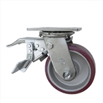 5 Inch Caster with Poly Tread  Aluminum Core, Ball Bearings and Total Lock