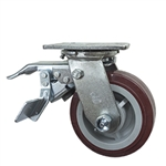 5 Inch Total Lock Swivel Caster with Polyurethane Tread on Poly Core Wheel and Ball Bearings