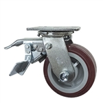 5 Inch Total Lock Swivel Caster with Polyurethane Tread on Poly Core Wheel