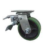 5 Inch Total Lock Swivel Caster with Polyurethane Tread Wheel and Ball Bearings