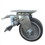 5 Inch Total Lock Swivel Caster with Rubber Tread on Aluminum Core Wheel and Ball Bearings
