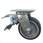 5 Inch Total Lock Swivel Caster with Rubber Tread on Aluminum Core Wheel
