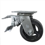 5 Inch Total Lock Swivel Caster with Moldon Rubber Tread Wheel and Ball Bearings