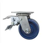 5 Inch Total Lock Swivel Caster - Solid Polyurethane Wheel with Ball Bearings