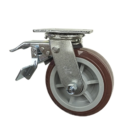 6 Inch Total Lock Swivel Caster with Polyurethane Tread on Poly Core Wheel and Ball Bearings