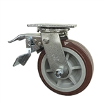 6 Inch Total Lock Swivel Caster with Polyurethane Tread on Poly Core Wheel