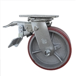 6 Inch Swivel Caster with Polyurethane Tread Wheel, Ball Bearings and Total Lock
