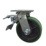6 Inch Total Lock Swivel Caster with Polyurethane Tread Wheel