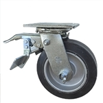6 Inch Total Lock Swivel Caster with Rubber Tread on Aluminum Core Wheel