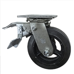 6 Inch Total Lock Swivel Caster with Rubber Tread Wheel and Ball Bearings
