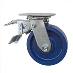 6 Inch Swivel Caster - Solid Polyurethane Wheel with Ball Bearings and Total Lock