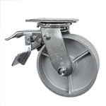 6 Inch Total Lock Swivel Caster with Semi Steel Wheel and Ball Bearings