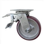 8 Inch Swivel Caster with Total Lock and Polyurethane Tread on Aluminum Core Wheel and Ball Bearings