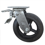 8 Inch Total Lock Swivel Caster with Moldon Rubber Tread Wheel and Ball Bearings