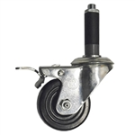 "3"" Expanding Stem Swivel Caster with Hard Rubber Wheel and Total Lock System"