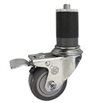 "3"" Expanding Stem Swivel Caster with Polyurethane Tread and total lock brake"
