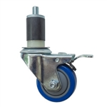 "3"" Expanding Stem Swivel Caster with Blue Polyurethane Tread and total lock brake"