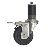 "3-1/2"" Expanding Stem Swivel Caster with Hard Rubber Wheel and Total Lock System"