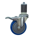 "4"" Expanding Stem Swivel Caster with Blue Polyurethane Tread and total lock brake"