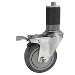 "4"" Expanding Stem Swivel Caster with Gray Polyurethane Tread and total lock brake"